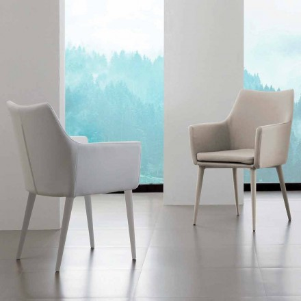 Stuhl mit Armlehnen aus Metall und Kunstleder Carlina