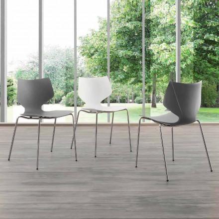 Stuhl mit verchromter Struktur in modernem Design Messina