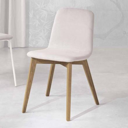 Designerstuhl aus Holz und Stoff für die Küche made in Italy, Egizia