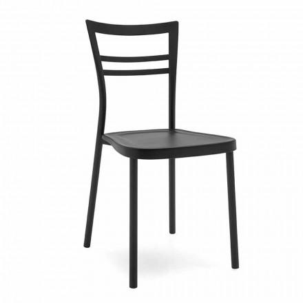 Modernes Design Küchenstuhl aus Polypropylen und Metall Made in Italy, 2 Stücke - Go