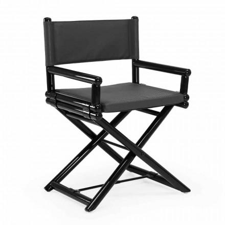 Outdoor-Stuhl aus Naturholz oder schwarzem und wiederverschließbarem Designstoff - Suzana
