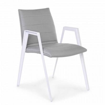 Moderner Gartenstuhl mit Armlehnen aus weißem Aluminium Homemotion - Liliana