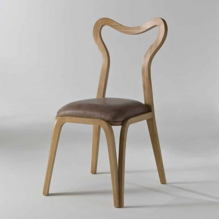 Esszimmer Stuhl aus Holz und Leder in modernem Design, 41x46cm, Carol