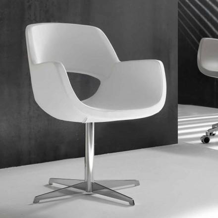 Bürostuhl aus weißem Kunstleder Michelle