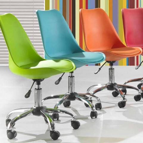 Bürostuhl mit Gasfeder aus farbigem Polypropylen und Metall - Loredana