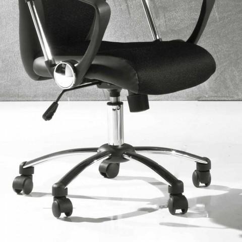 Bürostuhl mit drehbaren Rädern aus schwarzem und metallischem Kunstleder - Amarilda