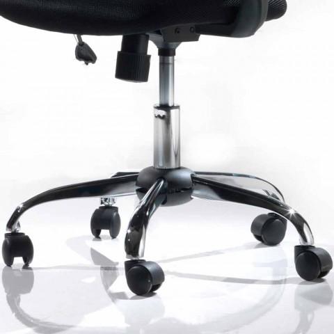 Bürostuhl mit drehbaren Rädern aus schwarzem Tecnorete und Stoff - Giovanna