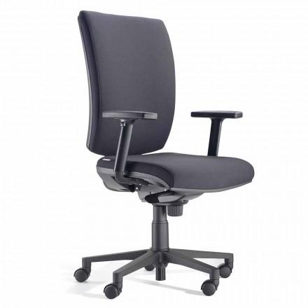Ergonomischer Bürodrehstuhl mit Armlehnen aus schwarzem Stoff - Macrino