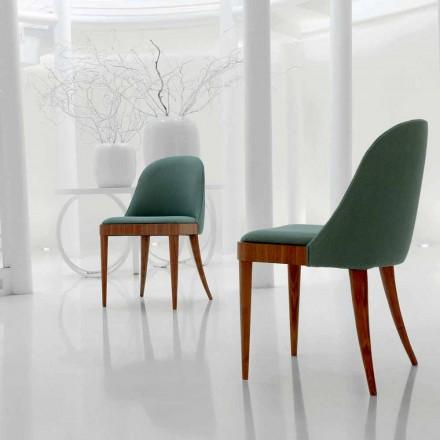 Gepolstertet Stuhl aus massivem Nussholz und Stoff Design Calida