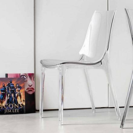 Stuhl in modernem Design, komplett aus Polycarbonat - Gilda