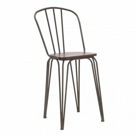 Modernes Design Industrial Style Stuhl aus Eisen und Holz, 2 Stück - Erika