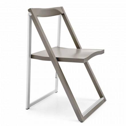Klappbarer Designstuhl aus Aluminium und Buchenholz Made in Italy, 2 Stücke - Skip
