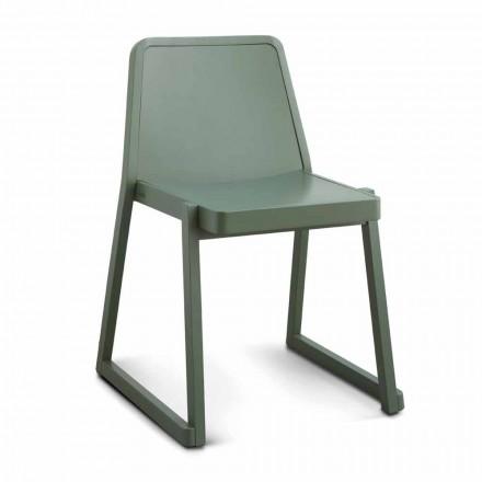 Stapelbarer Qualitätsstuhl aus Buchenholz Made in Italy, 2 Stück - Leipzig