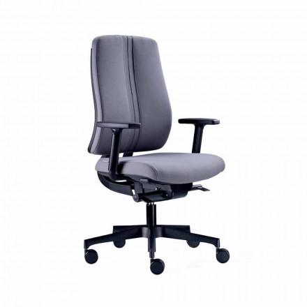 Ergonomischer moderner Bürodrehstuhl aus schwarzem feuerfestem Stoff - Menaleo