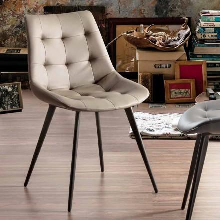 Gepolsterter Esszimmerstuhl aus Kunstleder mit schwarzen Beinen, 2 Stück - Edda