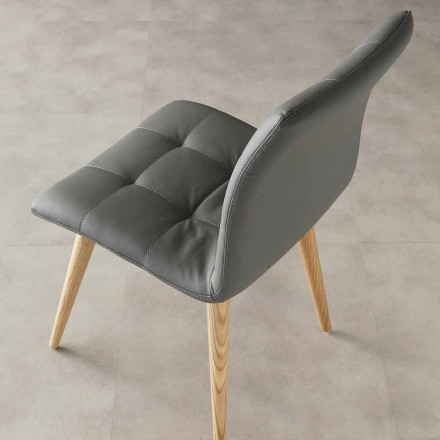 Stuhl aus Massivholz und Kunstleder Viola