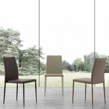 Stuhl aus Metall in Kusteleder bezogen Caserta, modernes Design