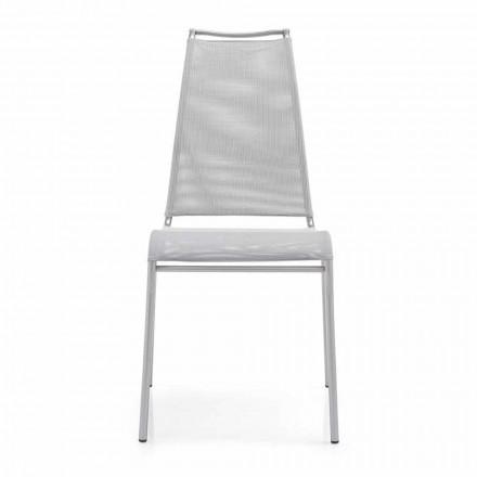 Lebender Stuhl mit hoher Rückenlehne aus Satinstahl Made in Italy, 2 Stücke - Air High