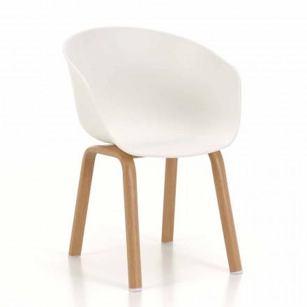 Moderner Stuhl mit Sitz aus Polypropylen und Metallbeinen, 4 Stück - Wolfsbarsch