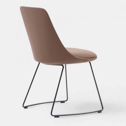 moderner Stuhl aus Leder mit Schlittenbasis Made in Italy – Bonaldo Itala Si