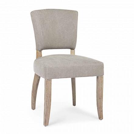 Moderner Stuhl für Esszimmer aus Stoff und Holz 2 Stück Homemotion - Pflaume