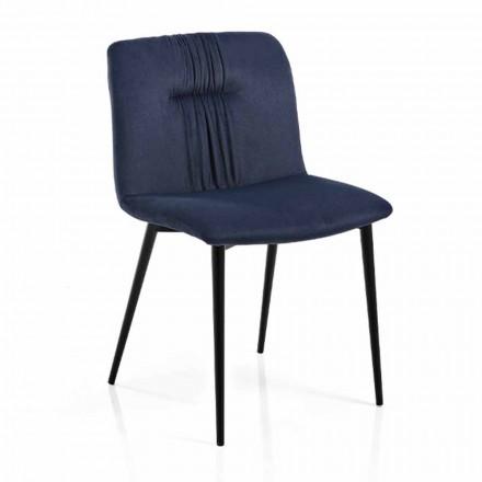 Monocoque Stuhl in farbigem Stoff und Black Metal Design 4 Stück - Florinda
