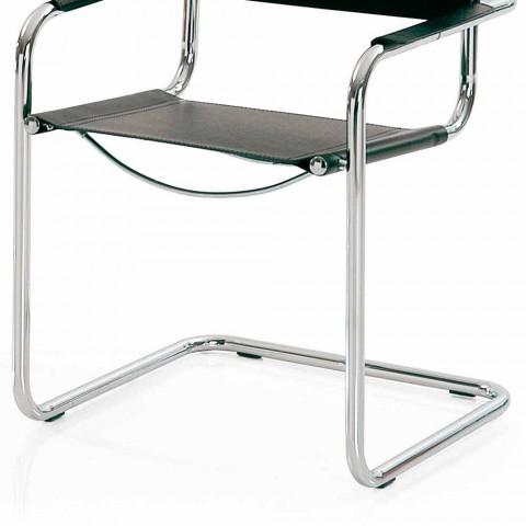 Stuhl für Konferenzraum oder Besprechungsraum aus schwarzem Leder und Metall - Cirillo
