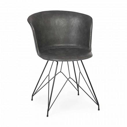 Esszimmerstuhl aus Kunstleder und Stahl 2 Stück Homemotion - Katya