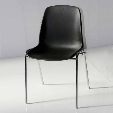 Stuhl für Besprechungszimmer oder modernen Konferenzraum aus Metall und schwarzem ABS - Zetica