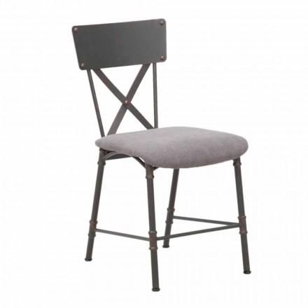 Industriedesign Esszimmerstuhl aus MDF und Metall - Elodie