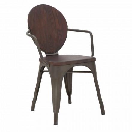 Industrial Design Stuhl Holzsitz und Eisenfuß, 2 Stück - Delia