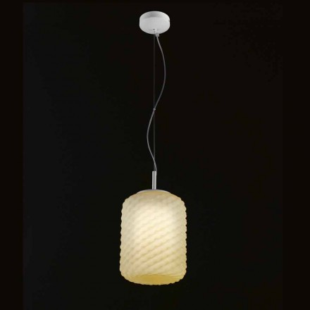 Selene Domino Hängelampe aus geblasenem Glas, Ø21 H 27/140 cm