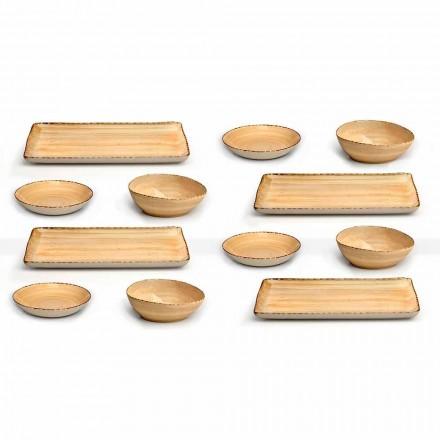 Service 12 rechteckige und runde farbige Steinzeugplatten, modernes Design - Simba