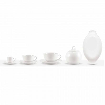 Set mit 18 Kaffee- und Teetassen mit Zuckerdose und Porzellantablett - Luzern