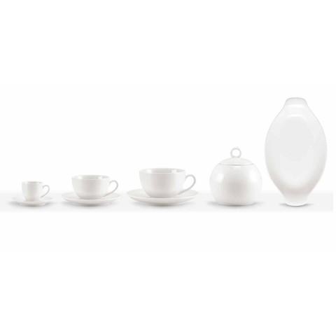 Set mit 18 Teetassen mit Zuckerdose und Porzellantablett - Luzern