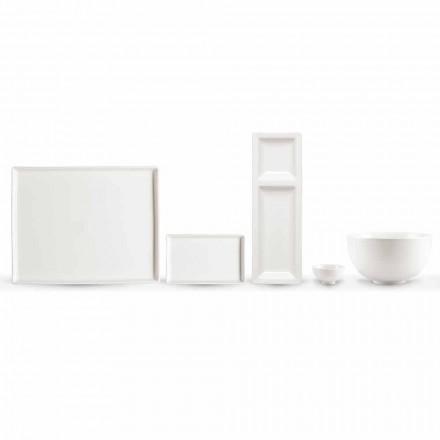 Set mit 20 Schalen aus weißem Porzellan mit modernem rechteckigem Design - Laos