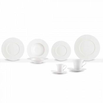 Service 24 moderne weiße Teller und 12 Porzellantassen - Monaco