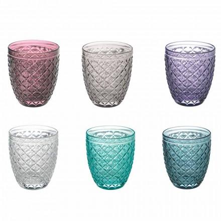 Farbige und dekorierte Wassergläser Service 12 Stück Glas - Raute