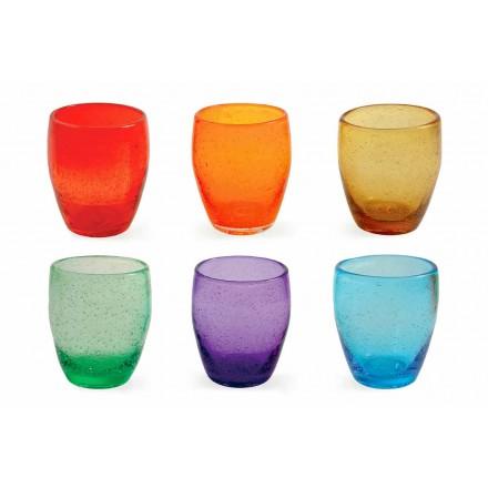 Set mit 6 farbigen und modernen geblasenen Glaswassergläsern - Guerrero