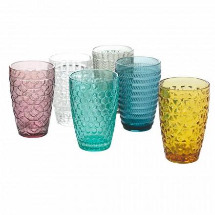 Modernes Trinkgeschirrset aus verziertem farbigem Glas 12 Stück - Mix