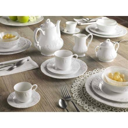 Kompletter Frühstücksservice 22 Stück aus weißem Porzellan - Gimignano