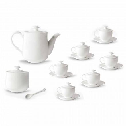 Kompletter Service für Kaffeetassen 21 Stück aus weißem Porzellan - Samantha