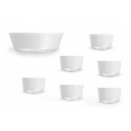 Modernes Design Weiße Porzellantassen und Schalen Set 7 Stück - Arktis