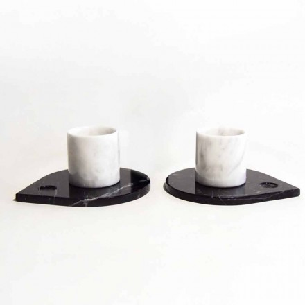 Kaffeeservice aus Carrara-Marmor und modernem Marquinia Made in Italy - Gardasee