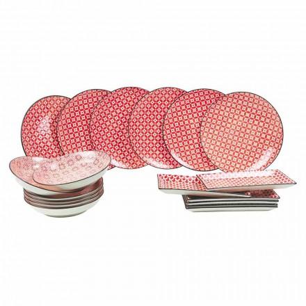 Komplette Tischservice Rote Teller in modernem Steinzeug 18 Stück - Cochineal