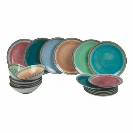 Tischgerichte aus modernem farbigem Steinzeug Komplett 18 Stück - Nassau