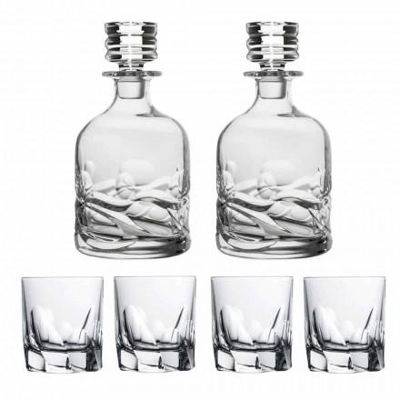 Whisky Set 2 Flaschen und 4 Gläser aus verziertem Kristall - Titan
