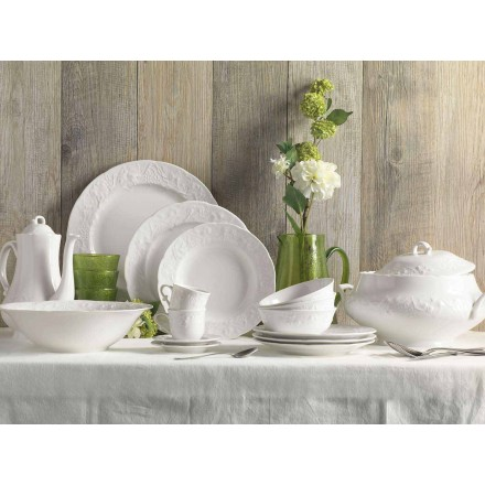 Set mit 27 eleganten weißen Porzellan-Designplatten - Gimignano