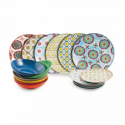 Satz moderne ethnische farbige Teller in Porzellan und Steinzeug 18 Stück - Istanbul