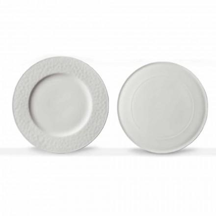 Gourmet Design Servierteller aus weißem Porzellan 2 Stück - Flavia